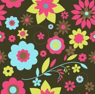 Very colourful Retro floral seamless pattern