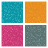 simple seamless floral pattern with different elements