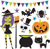Retro Halloween Witch Party Set