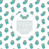 Frame owl turquoise vector seamless pattern.