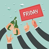 Cheers! Businessmen crowd at friday party after work