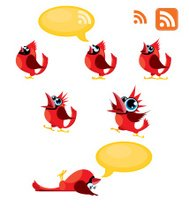 Tweeting, Talking Red birds or Cardinals and RSS symbol