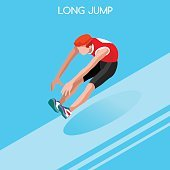 Athletics Jump Summer Games Isometric Athlete Sporting Championship International Competition