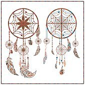 Dream catcher ethnic ornament spider web, beads, circler, feathers