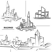 Set buildings city's. Sketch houses and building.
