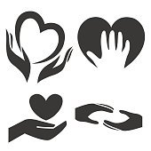 Heart in hand symbol, sign, icon, logo template for charity