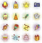 Party icons and celebration icons set
