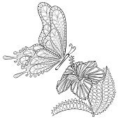 Hand drawn  tribal flying Butterfly and Hibiskus flower