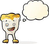 cartoon tooth with thought bubble