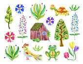 Set of watercolor illustrations. Flowers, plants, reptiles, bird, Nordic house