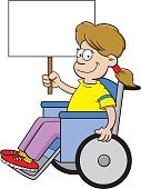 Cartoon girl in a wheelchair holding a sign.