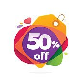 Half price icon with Sale tag.