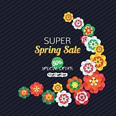 Summer Sale Banner with paper butterfly. Vector illustration.