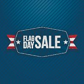 Flag Day Sale Banner with Ribbon and Shadow