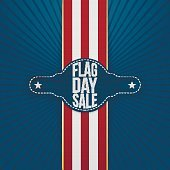 Flag Day Sale Tag with Ribbon and Shadow