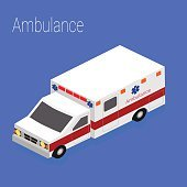 Flat 3d isometric style ambulance emergency medical evacuation accident