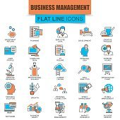 Set of thin line icons business management