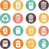 Colorful trash can icons on circular battons set