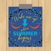 Vintage summer typography background with motivational quote. Creative sticker