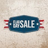 Flag Day Sale greeting Banner with Ribbon