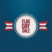 Flag Day Sale greeting Emblem with Ribbon