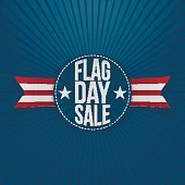 Flag Day Sale greeting Label with Text and Shadow