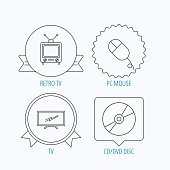 Retro TV, PC mouse and DVD disc icons.
