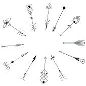 Arrow Clip art.  Tribal Vintage Retro Arrows Set. Vector