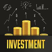 Investment poster or banner design template with golden coins.