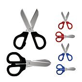 Scissors set color icons, Object on white background, Vector illustration