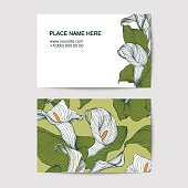 Visiting card template with calla lily
