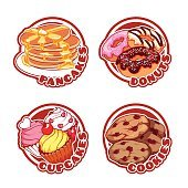 Set of four stickers with different sweets.