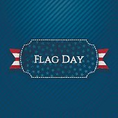 Flag Day Label with festive Ribbon and Shadow