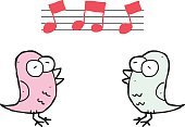 cartoon two birds singing with music notes