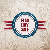 Flag Day Sale realistic Emblem with Ribbon