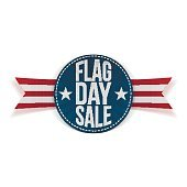 Flag Day Sale realistic Label with Text and Shadow