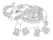 ethnic indian elephant line original drawing, adults coloring bo