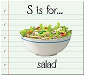Flashcard letter S is for salad