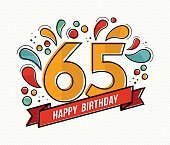 Colorful happy birthday number 65 flat line design