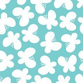 White butterflies on the turquoise background. Beautiful seamles