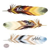 Set of color feather in boho style