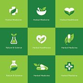 Herbal medicine icons on green background