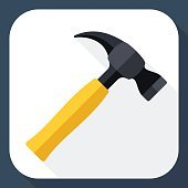 Hammer icon with long shadow