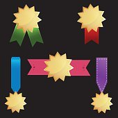 Vector award medal icons set on black background