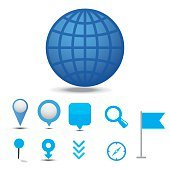 Cartography and topography icon set. Maps, location and navigation icons