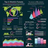 Air pollution and deforestation infographic design