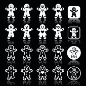 Gingerbread man Christmas white icons on black