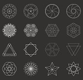 Abstract set geometric shapes, futuristic wavy fractal signs