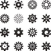 Cogwheel gear icons set