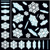 Snowflakes 3D Vector Illustrations Set